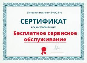 Сертификат на разовое бесплатное сервисное обслуживание